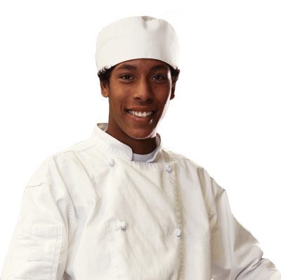 Avery Beverly wearing a chef's uniform.